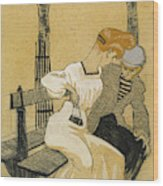 Juan Gris, Man And Woman On Bench, Spanish Wood Print