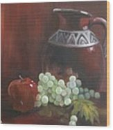 Jug With Frosty Grapes Wood Print