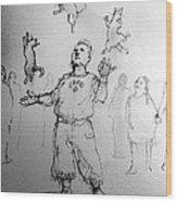 Juggler Wood Print by H James Hoff