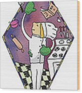 Juggling Chef Wood Print by Diane Thornton