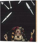 Jester Juggling Wood Print