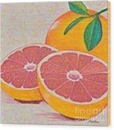Juicy Pink Grapefruit Wood Print