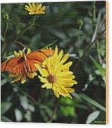 Julia On Yellow Flower  Wood Print