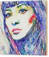 Juliette Greco - Colored Pens Portrait Wood Print