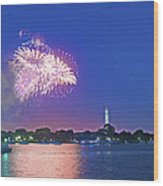 July 4th Fireworks Along The Potomac Wood Print by Steven Barrows