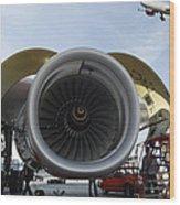 Jumbo Jet Engine And Aerospace Wood Print