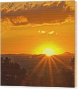 Jump Off Rock Sunset Flare Wood Print