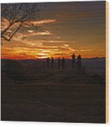 Jump Off Rock Sunset Silhouettes Wood Print