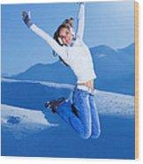 Jumping Girl Wood Print