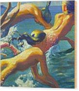 Jumping Mermaids Wood Print