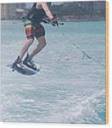 Jumping Wakeboarder Wood Print