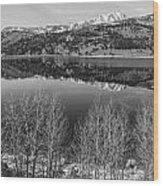 June Lake Black And White Wood Print