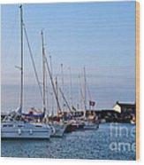 June Morning - Lyme Regis Harbour Wood Print