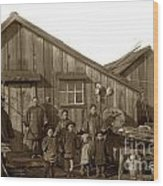 Jung San Choy And Chinese Family Pescadero Village Pebble Beach California Circa 1895 Wood Print