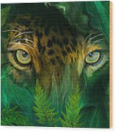 Jungle Eyes - Jaguar Wood Print