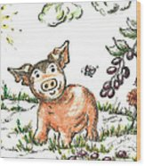Junior Pig Wood Print