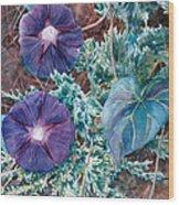 Juniper And Flowers Wood Print