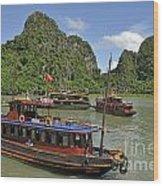 Junk Boats In Halong Bay Wood Print