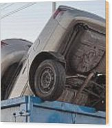 Junk Cars In Dumpster Cash For Clunkers Wood Print