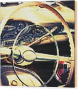 Junkyard Steering Wheel Wood Print