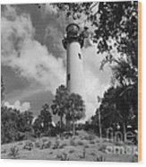 Jupiter Inler Lighthouse In Black And White Wood Print