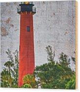 Jupiter Lighthouse Wood Print by Debra and Dave Vanderlaan