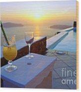 Just Before Sunset In Santorini Wood Print