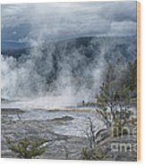 Just Before The Storm - Mammoth Hot Springs Wood Print by Sandra Bronstein
