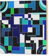 Just Colors And Lines Blue Wood Print