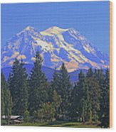Just Over The Hill Mt. Rainier Wood Print