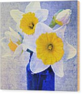 Just Plain Daffy 2 In Blue - Flora - Spring - Daffodil - Narcissus - Jonquil  Wood Print