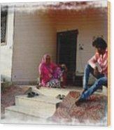 Just Sitting 3 - Family Portrait - Indian Village Rajasthani Wood Print