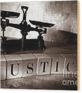 Justice Wood Print by Olivier Le Queinec