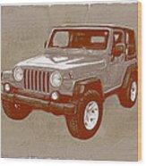 Justjeepn's 2005 Jeep Wrangler Rubicon Car Art Sketch Poster Wood Print