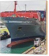 Kaethe P Container Ship Panama Canal Wood Print