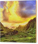 Kahana Valley Sunset Wood Print