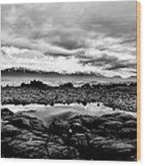 Kaikoura Coast New Zealand In Black And White Wood Print