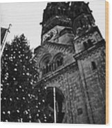 Kaiser Wilhelm Gedachtniskirche Memorial Church And Christmas Tree Berlin Germany Wood Print