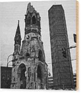 Kaiser Wilhelm Gedachtniskirche Memorial Church New Bell Tower And Christmas Market Berlin Germany Wood Print by Joe Fox