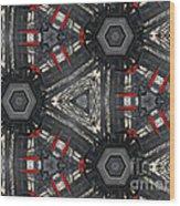 Kaleidoscope In Black Wood Print