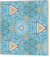 Kaleidoscope In Turquoise Wood Print