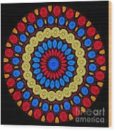 Kaleidoscope Of Colorful Embroidery Wood Print
