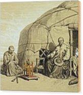 Kalmuks With A Prayer Wheel, Siberia Wood Print