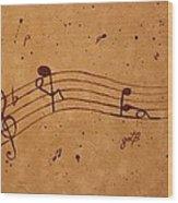 Kamasutra Abstract Music 2 Coffee Painting Wood Print