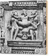 Kamasutra Scene In Khajuraho - India Wood Print