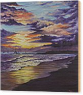 Kamehameha Iki Park Sunset Wood Print