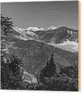 Kanchenjunga Monochrome Wood Print