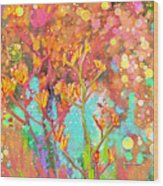 Kangaroo Flower In Spring Bubbles Wood Print