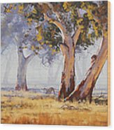 Kangaroo Grazing Wood Print