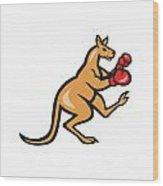 Kangaroo Kick Boxer Boxing Cartoon Wood Print by Aloysius Patrimonio